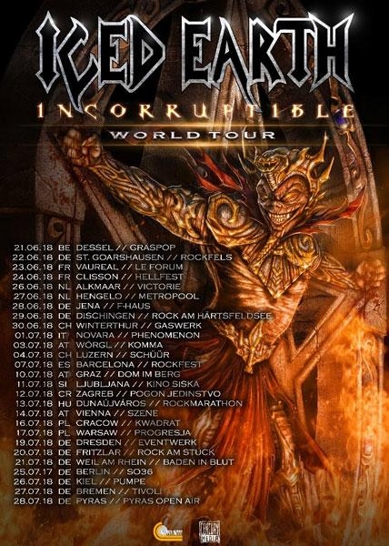 iced earth incorrutible tour 2018