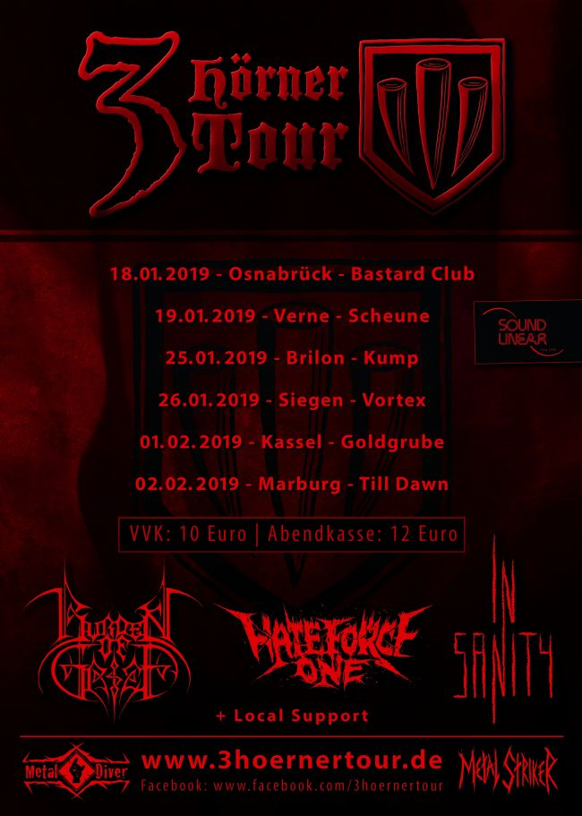 "In Sanity, Burden Of Grief und Hate Force One - Der Vorbericht zur ""3 Hörner Tour"""